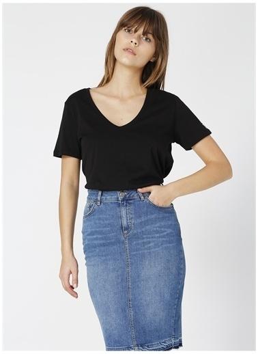 Fabrika Fabrika Teyo Siyah V Yaka Kadın T-Shirt Siyah